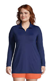 Women's Plus Size Quarter Zip Long Sleeve Tunic Rash Guard Cover-up UPF 50 Sun Protection