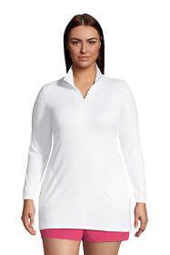 Women's Plus Size Quarter Zip Long Sleeve Tunic Rash Guard Cover-up UPF 50 Sun Protection
