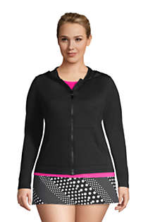 Women's Plus Size Hooded Full Zip Long Sleeve Rash Guard UPF 50 Sun Protection Cover-up Pockets, Front