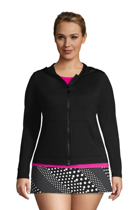 Women's Plus Size Hooded Full Zip Long Sleeve Rash Guard UPF 50 Sun Protection Cover-up Pockets