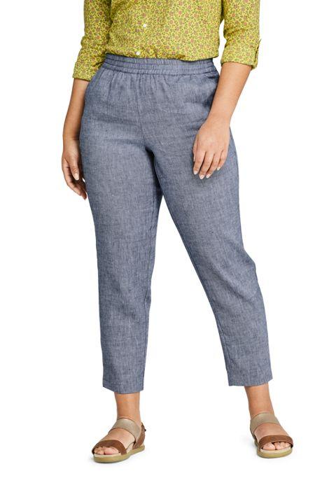 Women's Plus Size Mid Rise Elastic Waist Linen Twill Ankle Pants