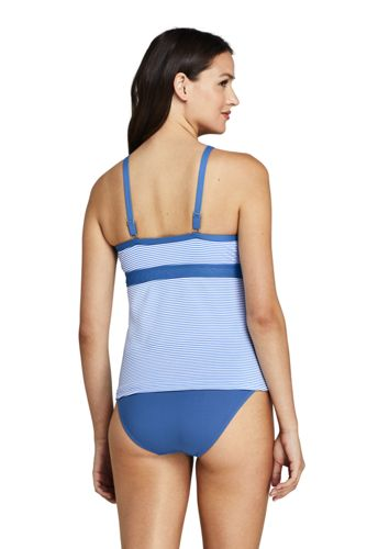 Women's Keyhole High Neck Modest Tankini Top Swimsuit Adjustable Straps Seersucker Stripe