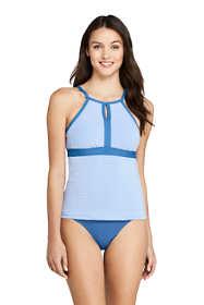 Women's Keyhole High Neck Modest Tankini Top Swimsuit Adjustable Straps Seersucker Stripe