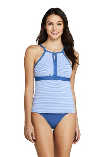 Women's Plus Keyhole Tankini Top, Seersucker Stripe