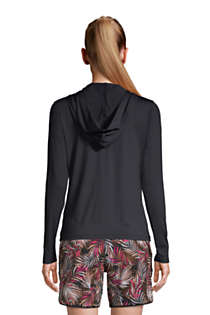 Women's Petite Hooded Full Zip Long Sleeve Rash Guard UPF 50 Sun Protection Cover-up Pockets, Back