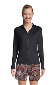 Women's Petite Hooded Full Zip Long Sleeve Rash Guard UPF 50 Sun Protection Cover-up Pockets