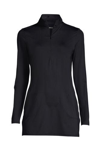 Women's Long Quarter Zip Long Sleeve Tunic Rash Guard Cover-up UPF 50 Sun Protection