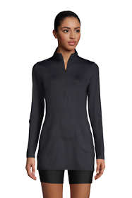 Women's Petite Quarter Zip Long Sleeve Tunic Rash Guard Cover-up UPF 50 Sun Protection