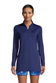 Women's Long Quarter Zip Long Sleeve Tunic Rash Guard Cover-up UPF 50 Sun Protection