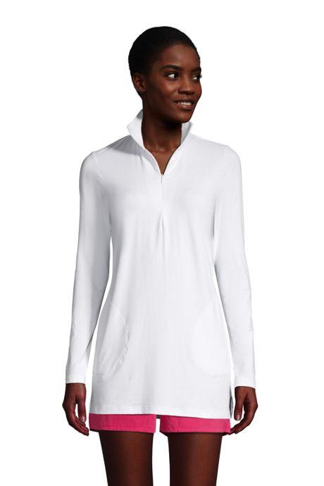 Women's Petite Quarter Zip Long Sleeve Tunic Rash Guard Cover-up UPF 50 Sun Protection
