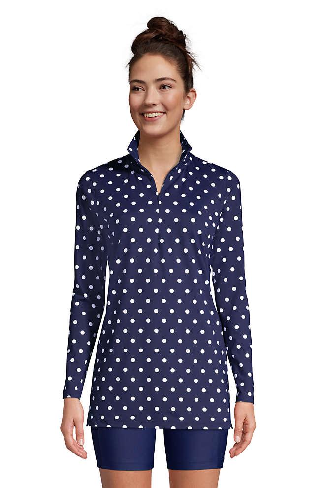 Women's Petite Quarter Zip Long Sleeve Tunic Rash Guard Cover-up UPF 50 Sun Protection Print, Front