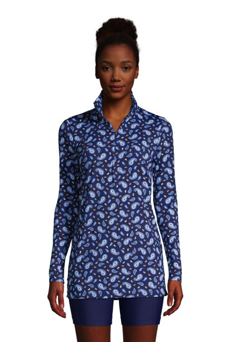 Women's Petite Quarter Zip Long Sleeve Tunic Rash Guard Cover-up UPF 50 Sun Protection Print