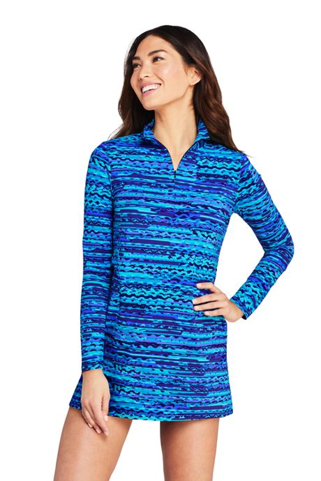 Women's Quarter Zip Long Sleeve Tunic Rash Guard Cover-up UPF 50 Sun Protection Print
