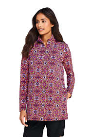 Women's Long Quarter Zip Long Sleeve Tunic Rash Guard Cover-up UPF 50 Sun Protection Print