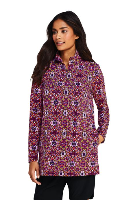 Women's Petite Quarter Zip Long Sleeve Tunic Rash Guard Cover-up UPF 50 Sun Protection Print