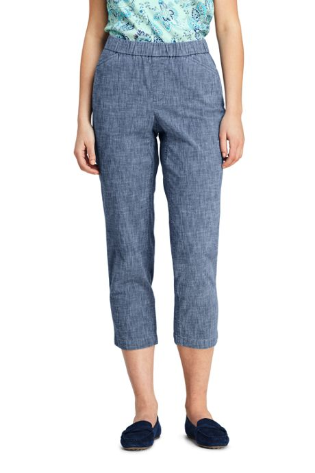Women's Tall Mid Rise Curvy Pull On Chino Chambray Crop Pants