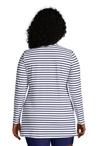 Women's Plus Size Quarter Zip Long Sleeve Tunic Rash Guard Cover-up UPF 50 Sun Protection Print