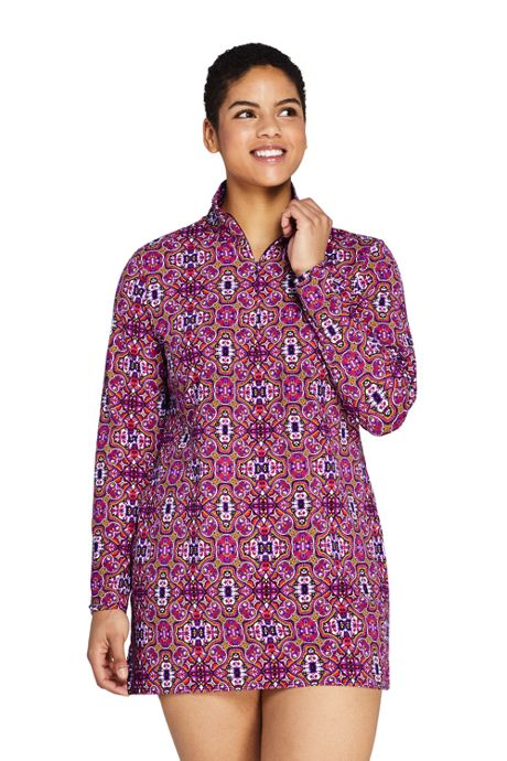 Women's Plus Size Quarter Zip Long Sleeve Tunic Rash Guard Cover-up UPF 50 Sun Protection Print