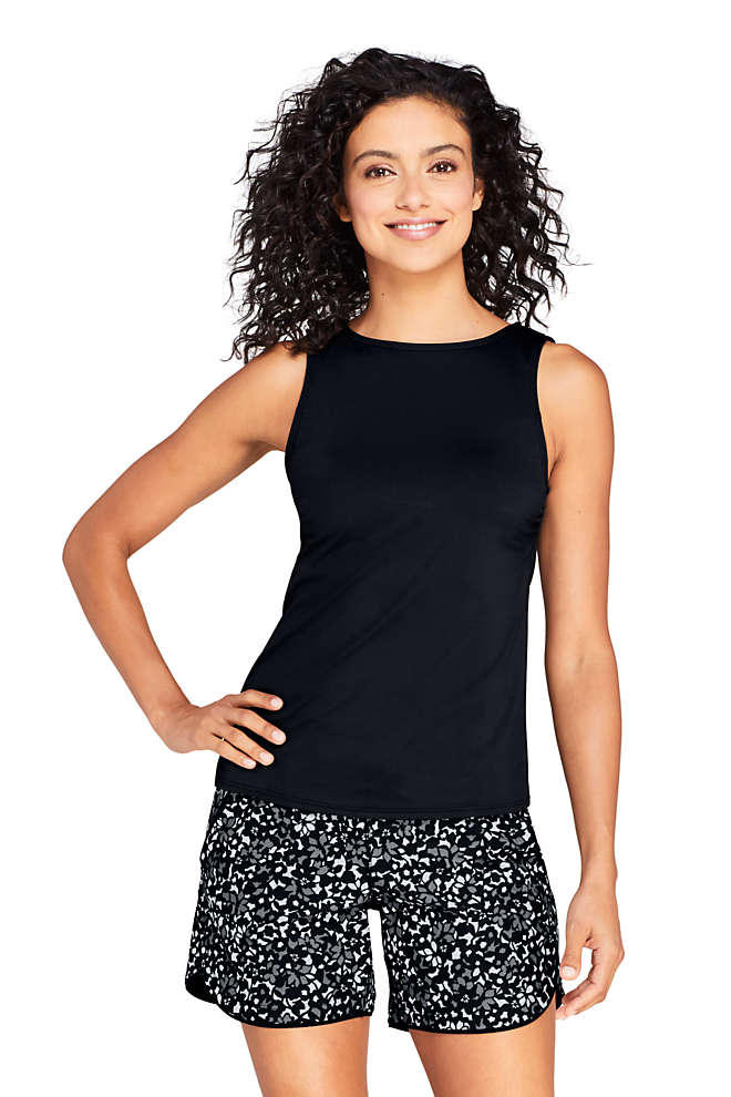 Women's High Neck UPF 50 Modest Tankini Top Swimsuit, Front