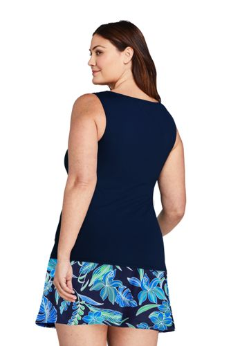 Women's Plus Size Long High Neck UPF 50 Modest Tankini Top Swimsuit