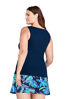 Women's Plus Size High Neck UPF 50 Modest Tankini Top Swimsuit, Back