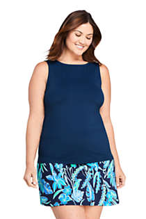 Women's Plus Size High Neck UPF 50 Modest Tankini Top Swimsuit, Front