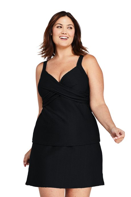 Women's Plus Size Texture V-Neck Wrap Underwire Tankini Top Swimsuit with Adjustable Straps