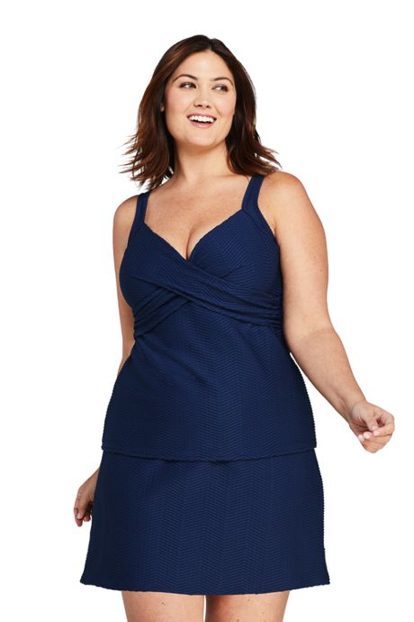 Women's Plus Size DDD-Cup Texture V-Neck Wrap Underwire Tankini Top Swimsuit with Adjustable Straps