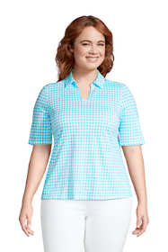 Women's Plus Size Cotton Slub Elbow Sleeve Polo Shirt
