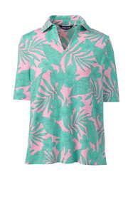 Women's Plus Size Cotton Slub Elbow Sleeve Polo Shirt