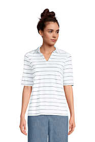 Women's Cotton Slub Elbow Sleeve Polo Shirt