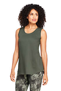 Women's Supima Cotton Scoop Neck Tunic Tank Top, Front