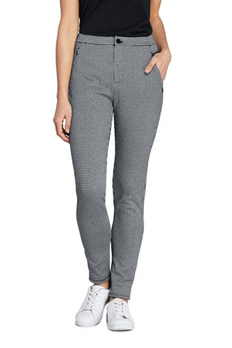Women's Mid Rise Tapered Leg Check Jersey Trousers