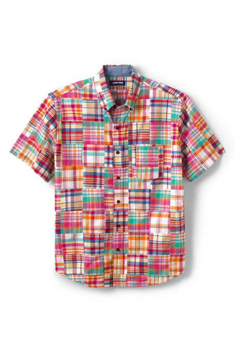 Men's Traditional Fit Short Sleeve Patchwork Madras Shirt