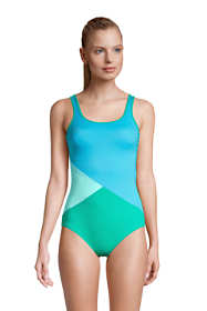 Women's Petite Chlorine Resistant Scoop Neck Soft Cup Tugless Sporty One Piece Swimsuit