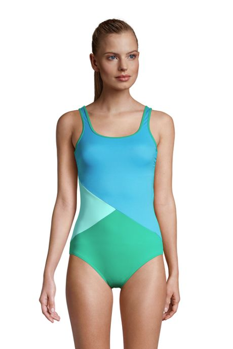Women's Long Chlorine Resistant Scoop Neck Soft Cup Tugless Sporty One Piece Swimsuit