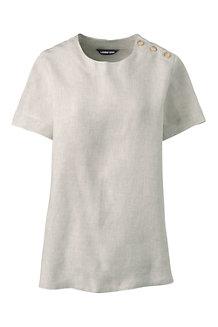 Leinen-Shirt mit Schulterknöpfen