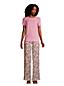 T-Shirt Pur Lin à Manches Courtes, Femme Stature Standard