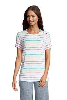 T-Shirt Pur Lin à Manches Courtes, Femme