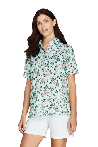 Women's Plus Linen Camp Shirt