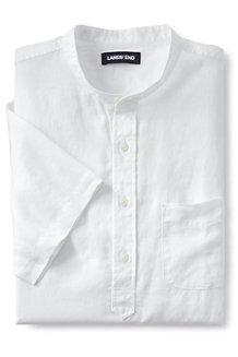 Leinen-Kurzarmhemd mit Großvater-Kragen für Herren, Modern Fit