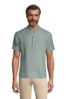 Men's Banded Collar Popover Linen Shirt