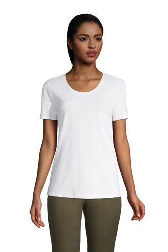 T-shirt en Lin et Coton à Manches courtes, Femme Stature Standard