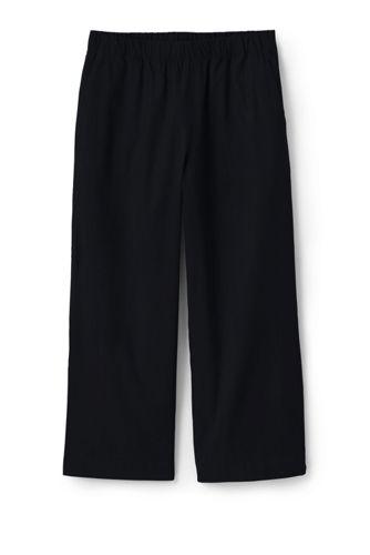 Women's Stretch Linen Blend Pull-on Wide Leg Crops