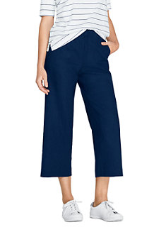 Women's Stretch Linen Blend Pull-on Wide Leg Crops