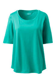 Women's Tall Elbow Sleeve Supima Cotton Scoop Neck T-Shirt