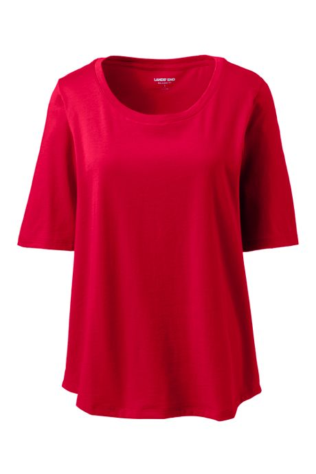 Women's Plus Size Elbow Sleeve Supima Cotton Scoop Neck T-Shirt