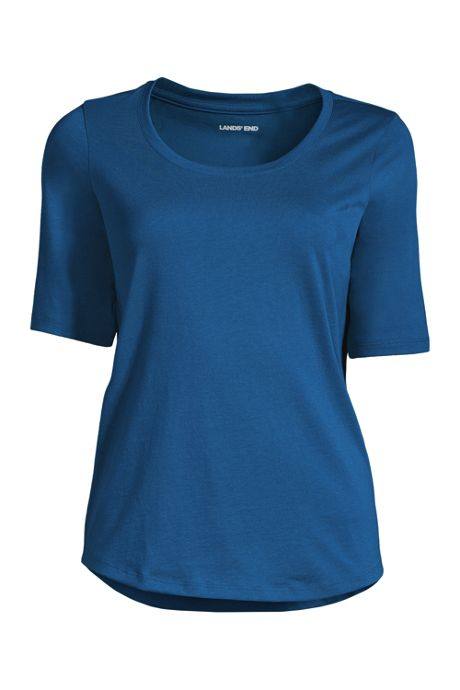 Women's Elbow Sleeve Supima Cotton Scoop Neck T-Shirt