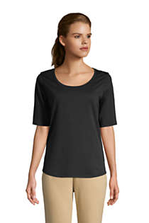 Women's Tall Elbow Sleeve Supima Cotton Scoop Neck T-Shirt, Front