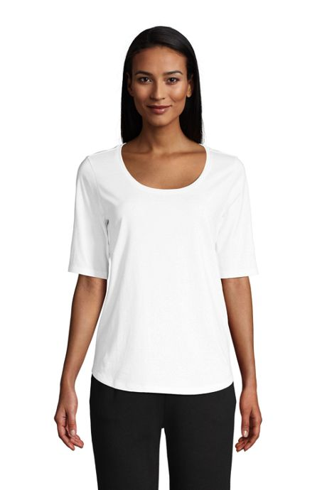 Women's Elbow Sleeve Supima Cotton Scoop Neck T-Shirt